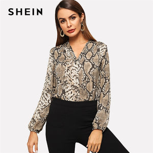 870d12edf31 SHEIN Multicolor Office Lady Elegant Snakeskin V-neck Long Sleeve Workwear  Blouse Autumn Women Modern
