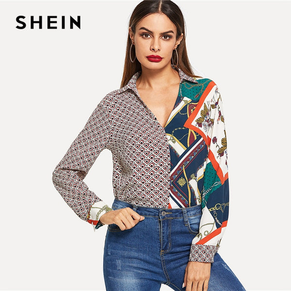 866fb41cfb SHEIN Multicolor Color Block Mixed Print V-Neck Shirt Elegant Workwear Long  Sleeve Pullover Women