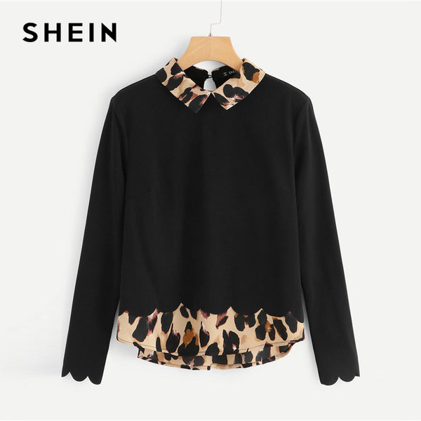 fcea799748689 SHEIN Black Contrast Collar And Hem Scalloped Blouse Preppy Long Sleeve  Casual Pullover Blouse Autumn Women