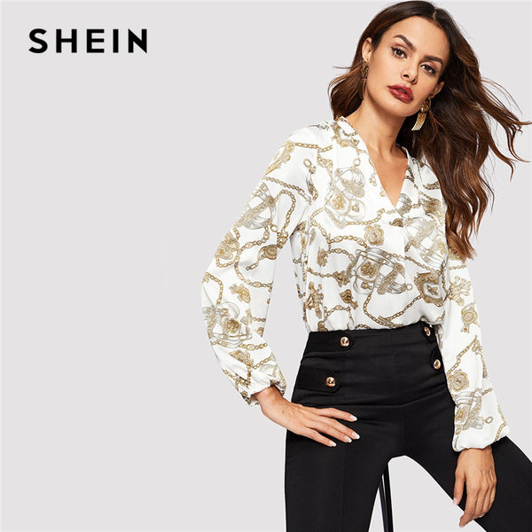 b788c4ac068 SHEIN Office Lady White Cut-out V Neck Chain Print Top 2019 Elegant  Workwear Long