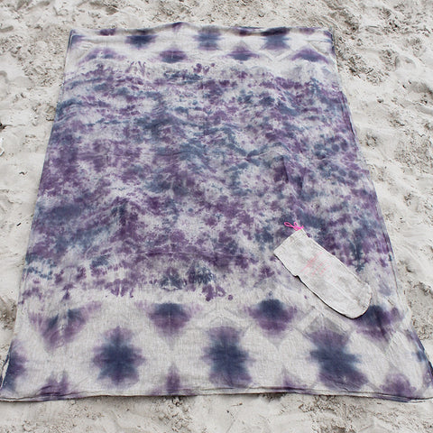 Linen Purple + Navy Tie-Dyed Beach Blanket