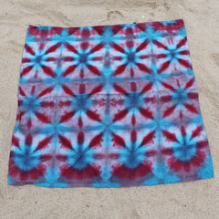 Linen Pomegranate/Turquoise Tie-Dyed Baby Blanket