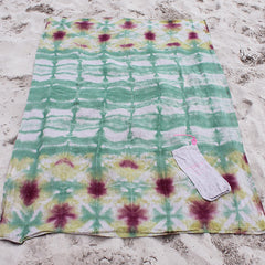 Linen Sage, Raisin + Yellow Shibori-Dyed Beach Blanket