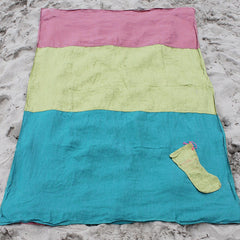Linen Teal/Grass/Coral Beach Blanket