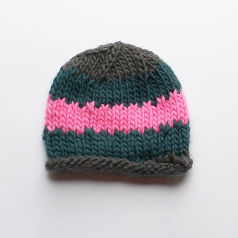 Wool Baby Beanie > Charcoal / Teal / Pink