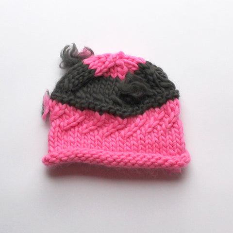 Wool Baby Beanie > Pink + Charcoal