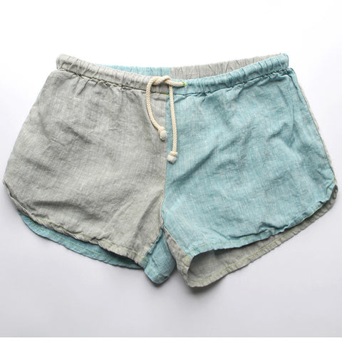 Linen Shorts > Beige + Light Blue Combo