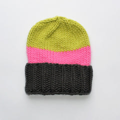 Wool Beanie > Charcoal / Pink / Chartreuse