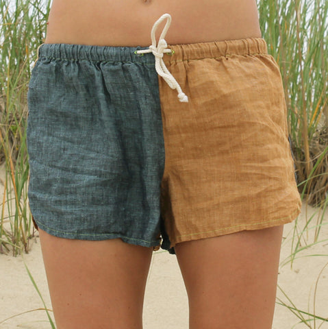 Linen Shorts > Denim + Gold Combo
