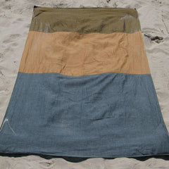 Linen Denim/Gold/Rust Beach Blanket
