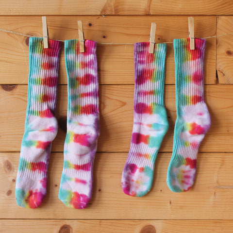 Double Rainbow Tie-Dye Socks