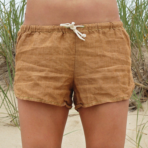 Linen Shorts > Gold Solid
