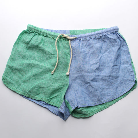Linen Shorts > Blue + Green Combo