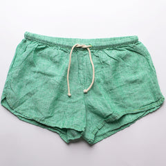 Linen Shorts > Green Solid