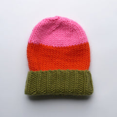 Wool Beanie > Avocado / Orange / Pink