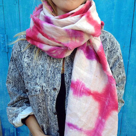 Linen Rose/Dragon Fruit Shibori-Dyed Scarf