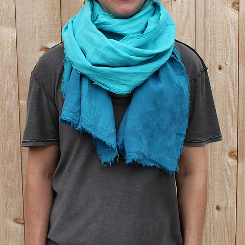 Linen Turquoise Dip-Dyed Scarf