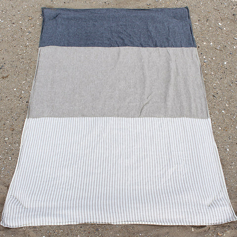 Linen Stripe/Sand/Denim Beach Blanket