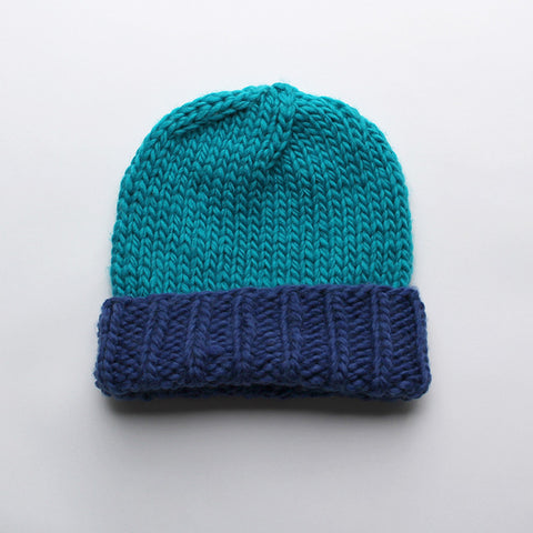 Wool Beanie > Blue  + Turquoise
