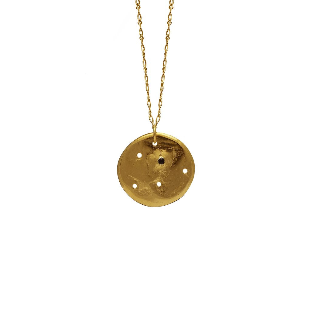 Black Star Constellation Necklace / Gold Plated