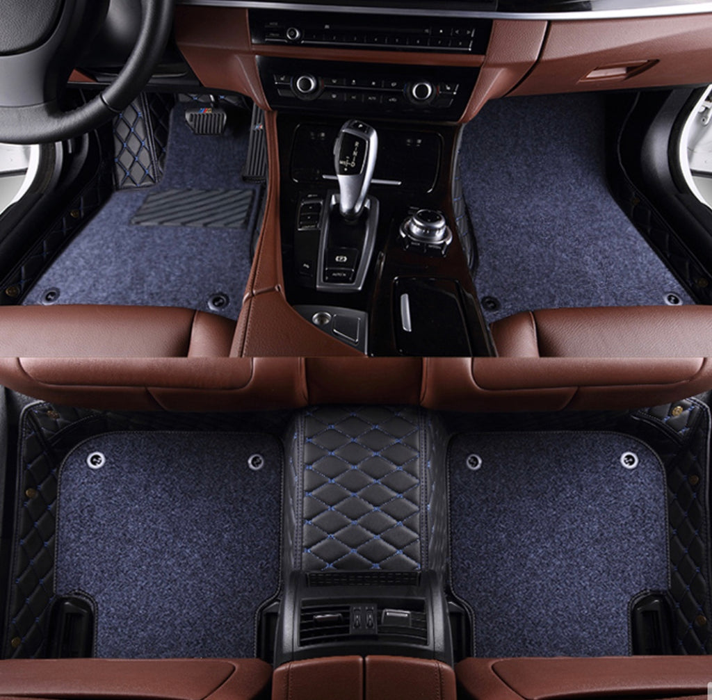 Black and Blue with Gray carpet Front and Rear