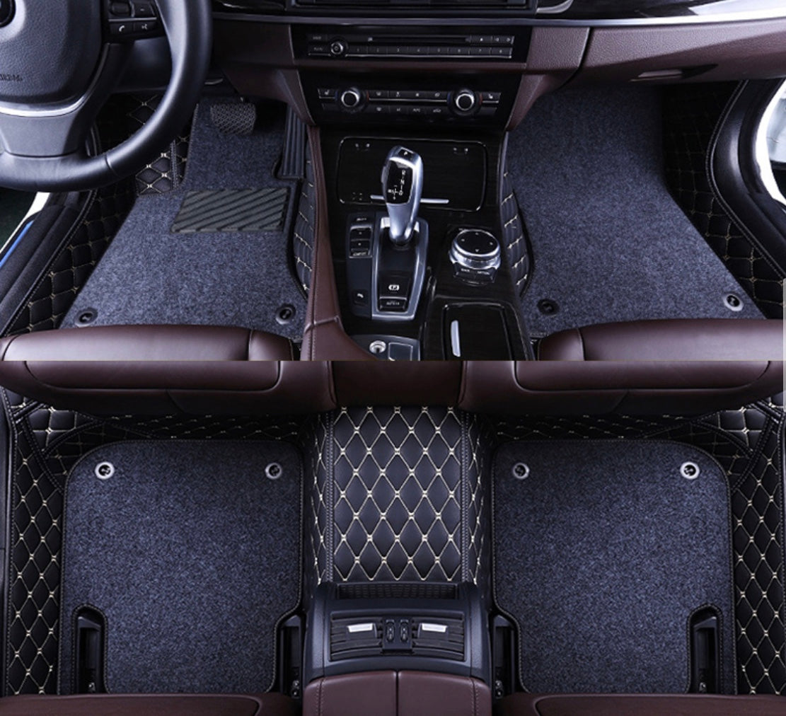 Black and Beige with Gray carpet Front and Rear