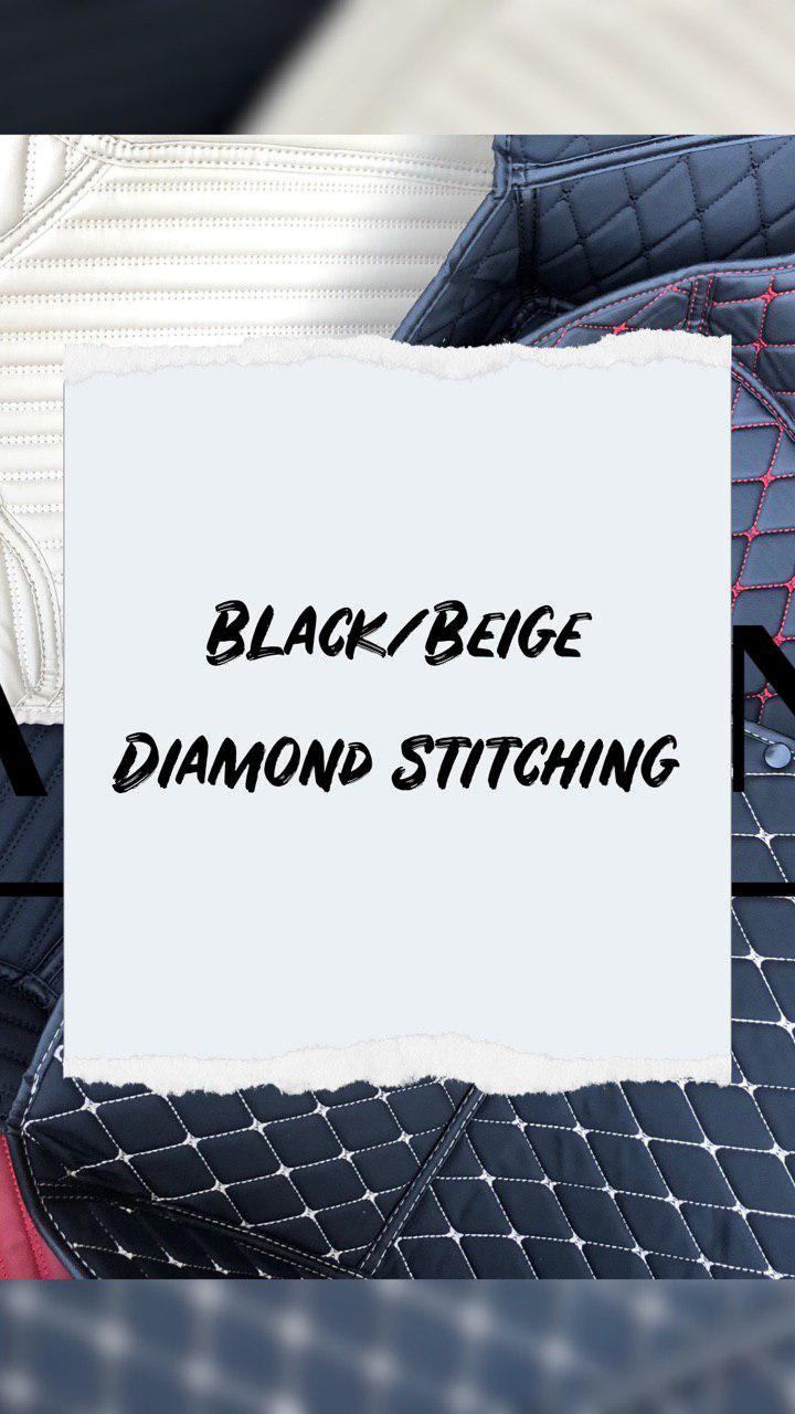Black/Beige Diamond Stitching