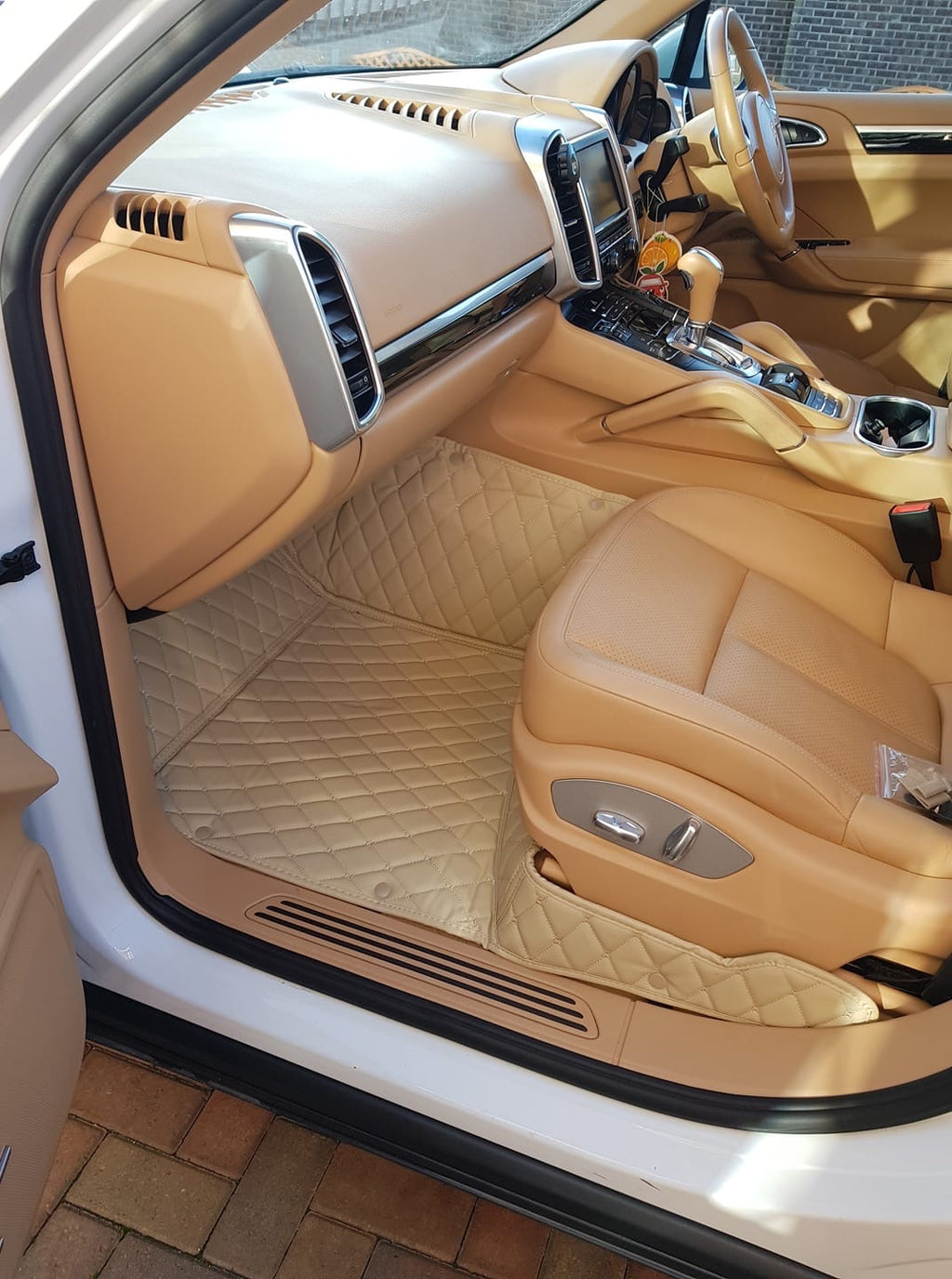 Beige Diamond Style Front and Rear Mats