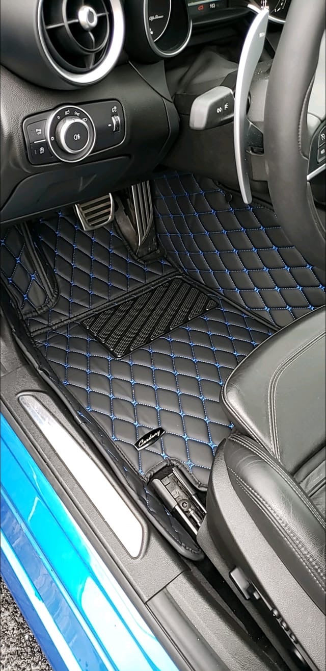 Black and Blue Diamond Stitching Front and Rear Mats