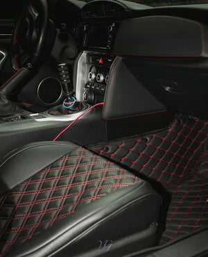 Black and Red Diamond Style Front Mats Only