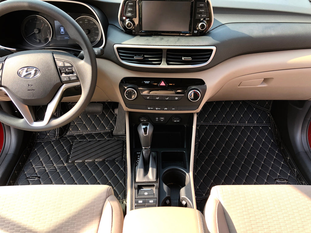 Black and Beige Diamond Stitching Front and Rear Mats