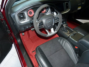 Carmine Stripes Front and Rear Mats