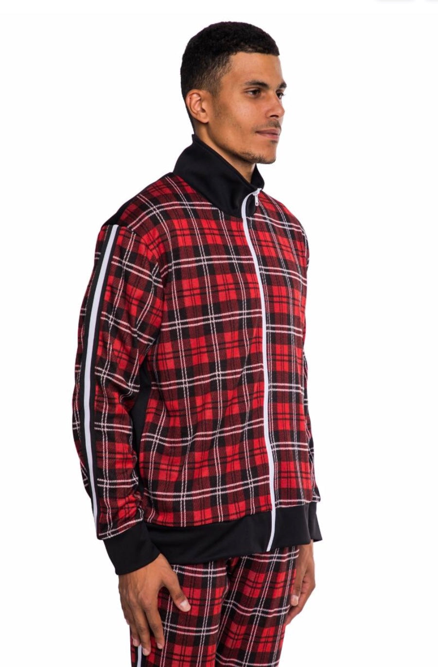 EPTM RED/BLACK-TAPED PLAID TRACK JACKET