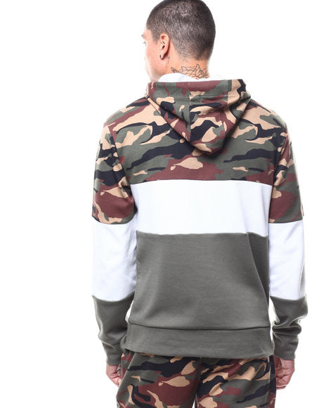 Copper Rivet Camo Colorblock Hoody (Olive)
