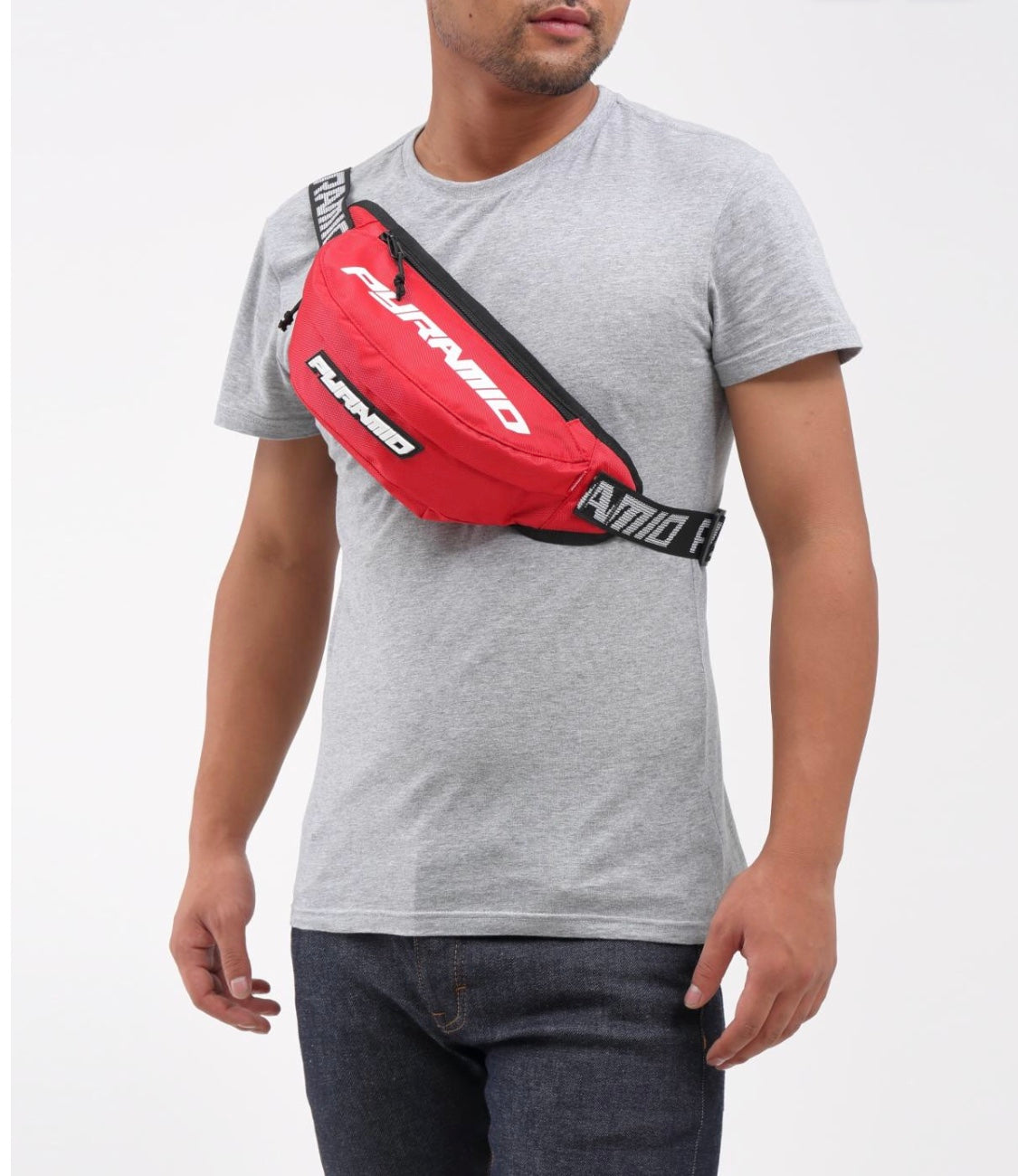 Black Pyramid Waist Bag (Red)