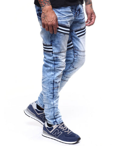 Copper Rivet Bleached Out Articulated Jean W Insert (Blue)