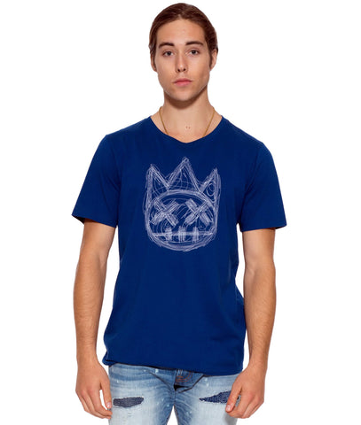 CULT Multi Stitch Shimuchan Royal S/S Crew T Shirt in Royal/White