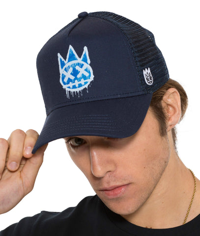 CULT Krylon Shimuchan Logo Mesh Trucker Hat with Curved Visor in Navy w/ Royal