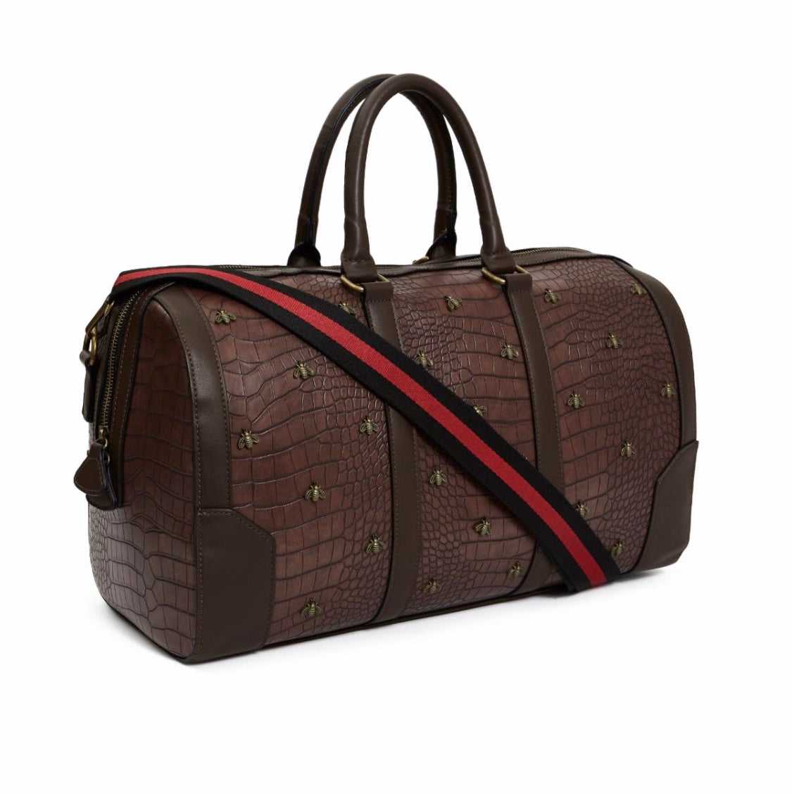 Reason Croc Skin Metal Monogram Duffle (Brown)