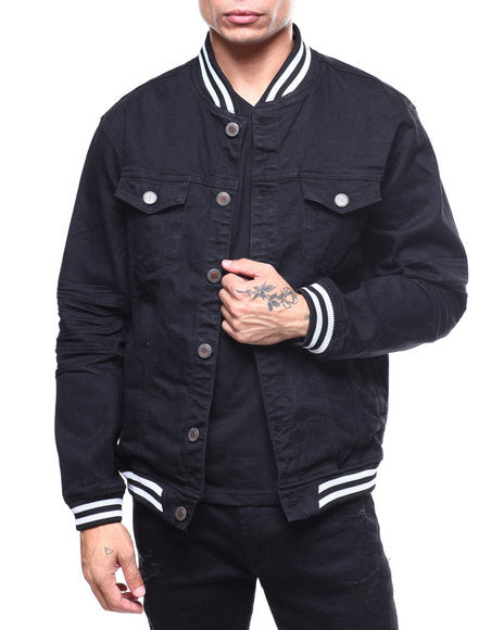 Copper Rivet Denim Bomber Jacket (Black)