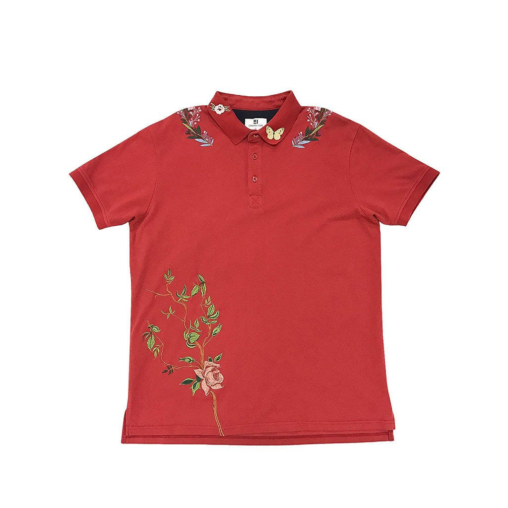 Standard Issue Flower Vine Embroidered Polo (Maroon)