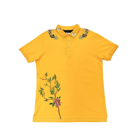 Standard Issue Flower Vine Embroidered Polo (Yellow)