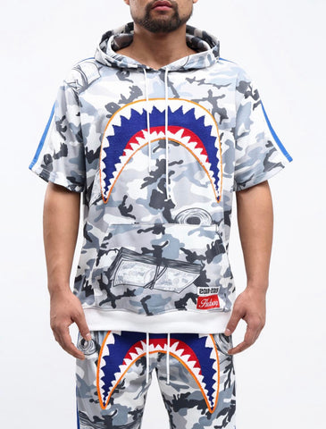 HUDSON Camo SharkMouth SS Sweater (White)