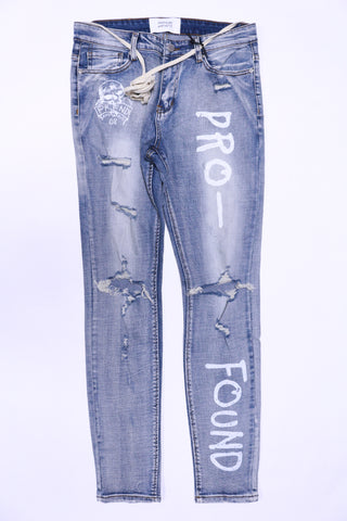 Profound Destroyed Light Blue Denim Painted Jeans