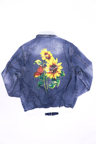 Profound Denim Shearling Sunflower Print Bomber