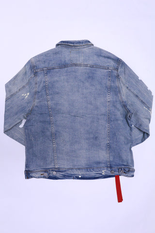 Profound Destroyed Light Blue Denim Painted Trucker Jacket