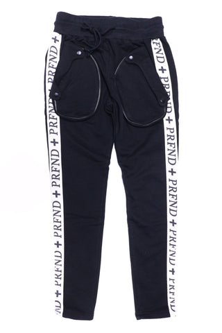 Profound Oversized Zip Pocket  Track Pants (Black)