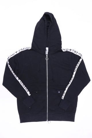 Profound Track Stripe Double Zip Hoodie (Black)