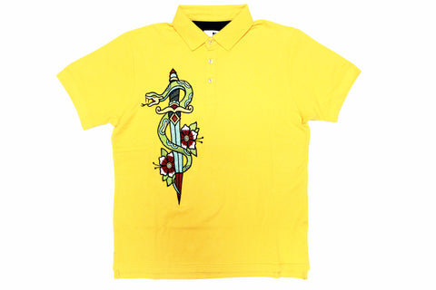 Standard Issue Snake & Roses Embroidered Polo (Yellow)