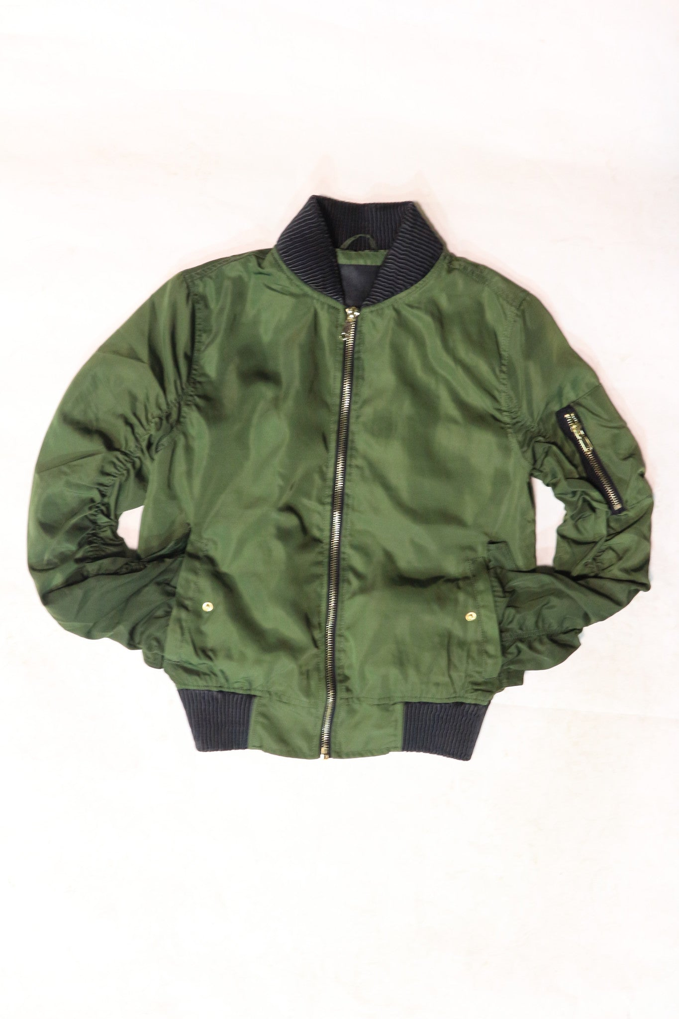 Peace Unltd. Olive Bomber Fall Jacket